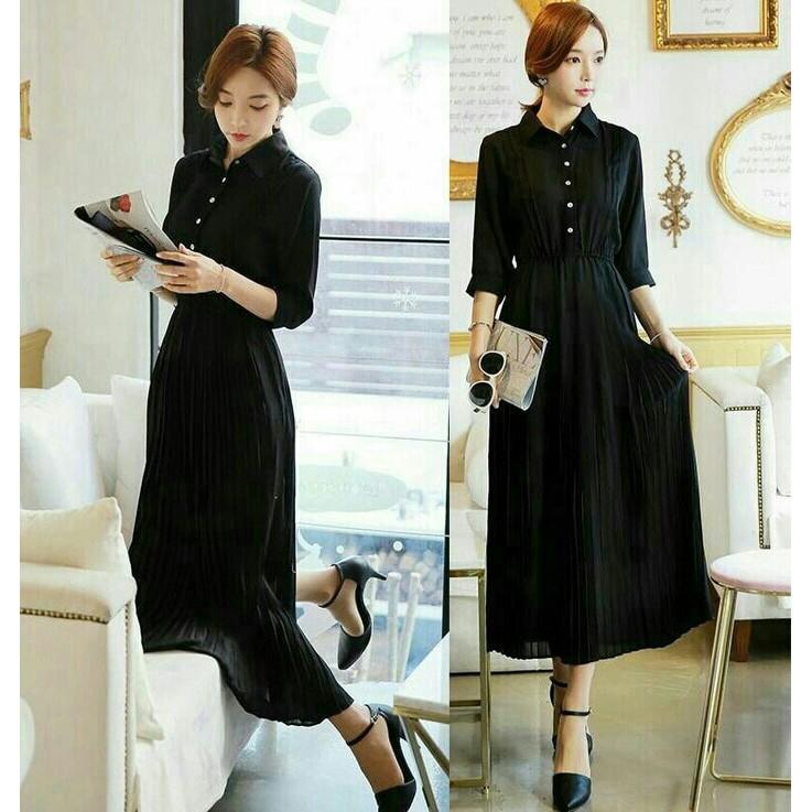 Dress Panjang / Maxi Longdress Sweet Black Basic Chic Style Ootd