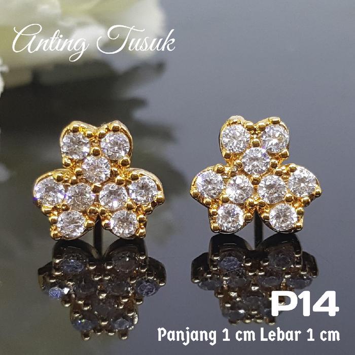Anting Giwang Full Zircon Lapis Emas 18 K Perhiasan XUPING  P14
