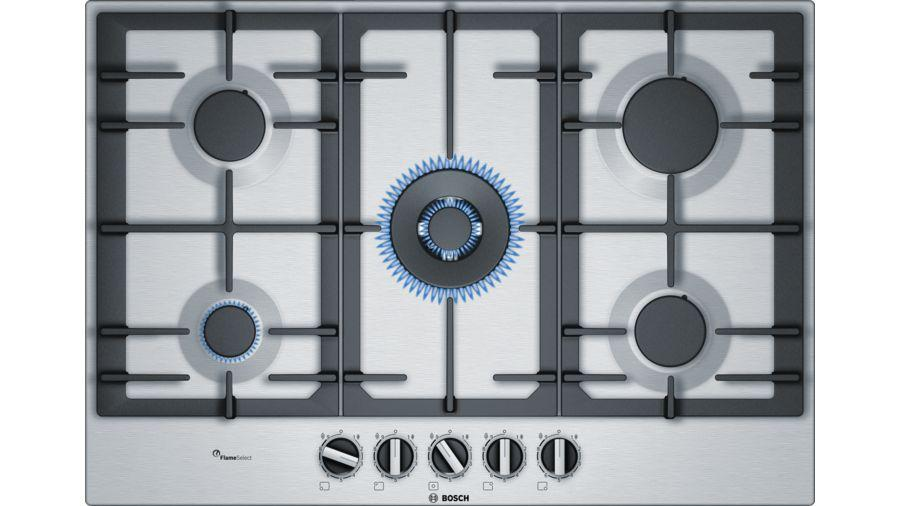 Bosch Serie 6 75cm wide 5 Burner Gas Hob PCQ7A5B90 -Stainless Steel