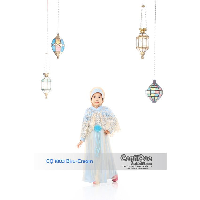 CantiQue busana muslim anak CQ 1803 Biru salem mewah elegant nyaman baju lebaran