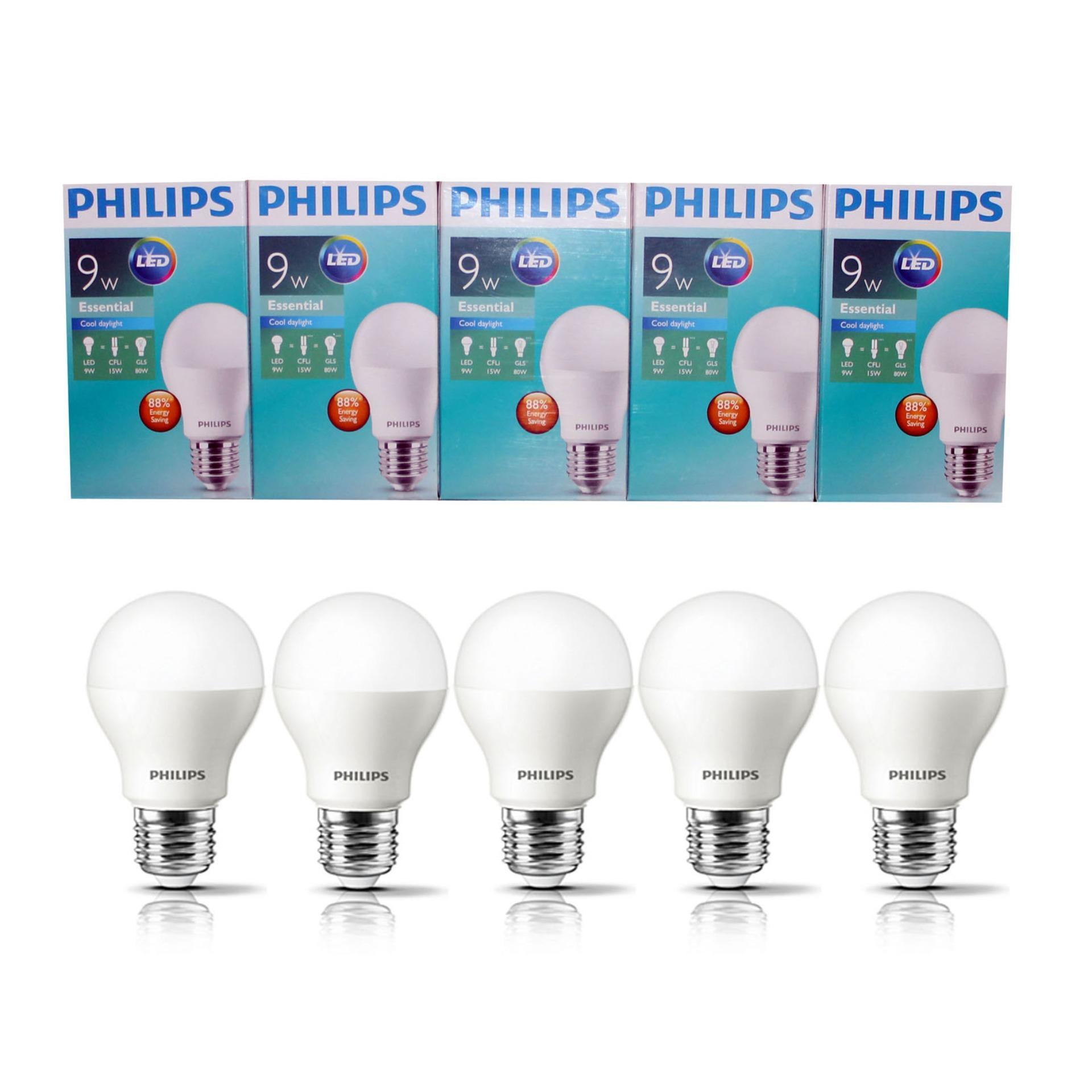PHILIPS Lampu Led Bulb Essential 9 Wat 9 W 9Watt 9W Paket 5 Pcs Putih