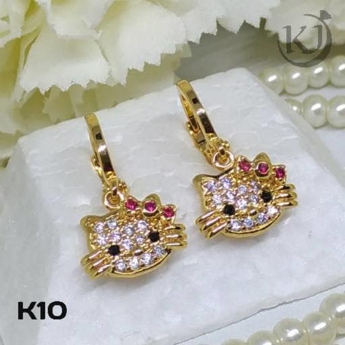 K10 Anting Anak Hello Kitty - Perhiasan Lapis Emas 18K - Xuping