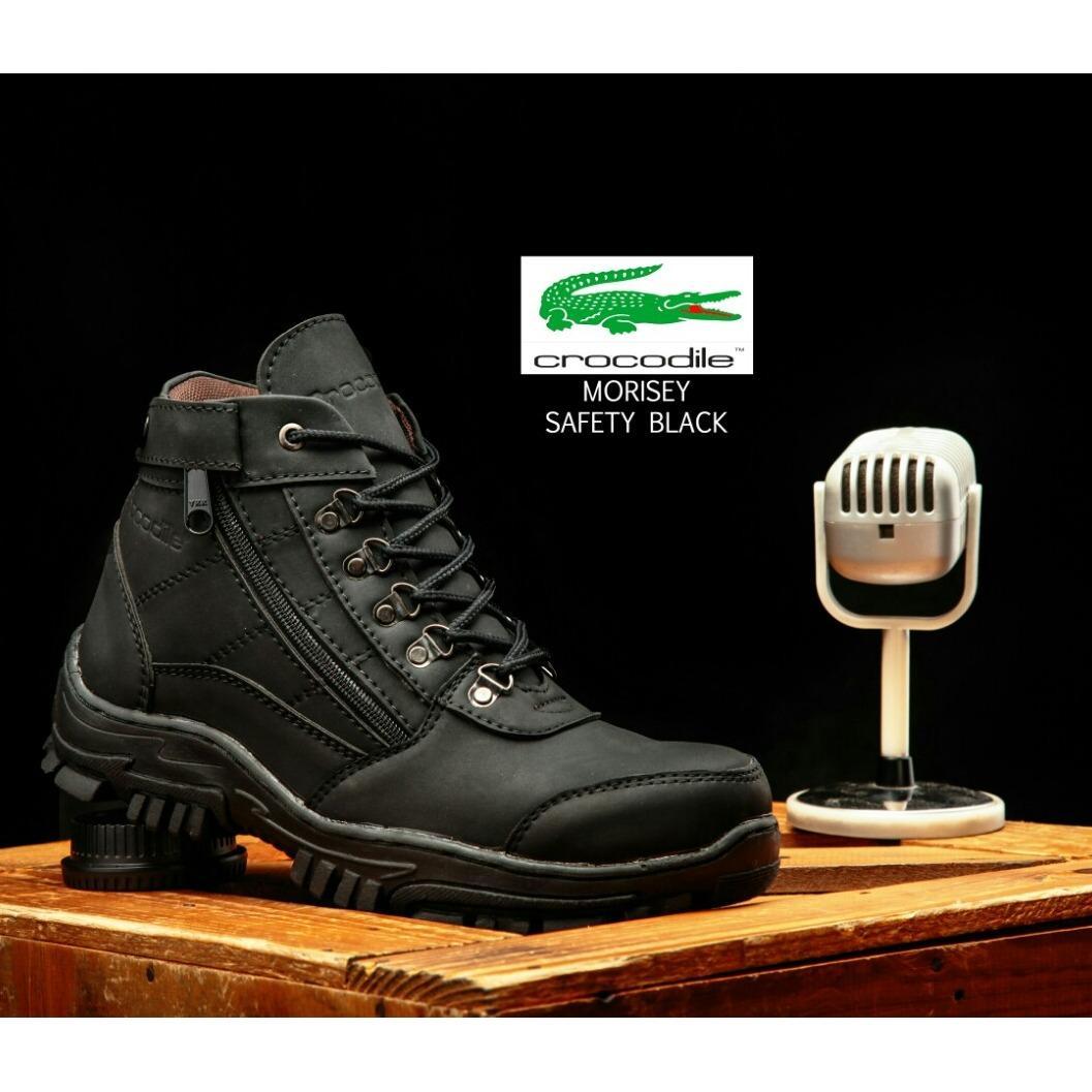 Sepatu Pria Boots Safety Gunung Hikking Tracking Crocodile Morisey / Sepatu Pria / Sepatu Boot / Sepatu Safety Ujung Besi (Sepatu Pria Boot Safety Keren 3 Warna Pilihan )