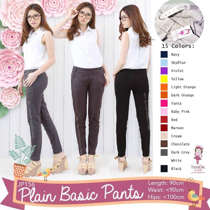 Big Size Plain Basic Pants Celana Kerja Katun Anti Begah Jumbo JP156XL -  Fashion Wanita Terlaris - Aksesoris Wanita -  Best Seller - Fashion Wanita Kece