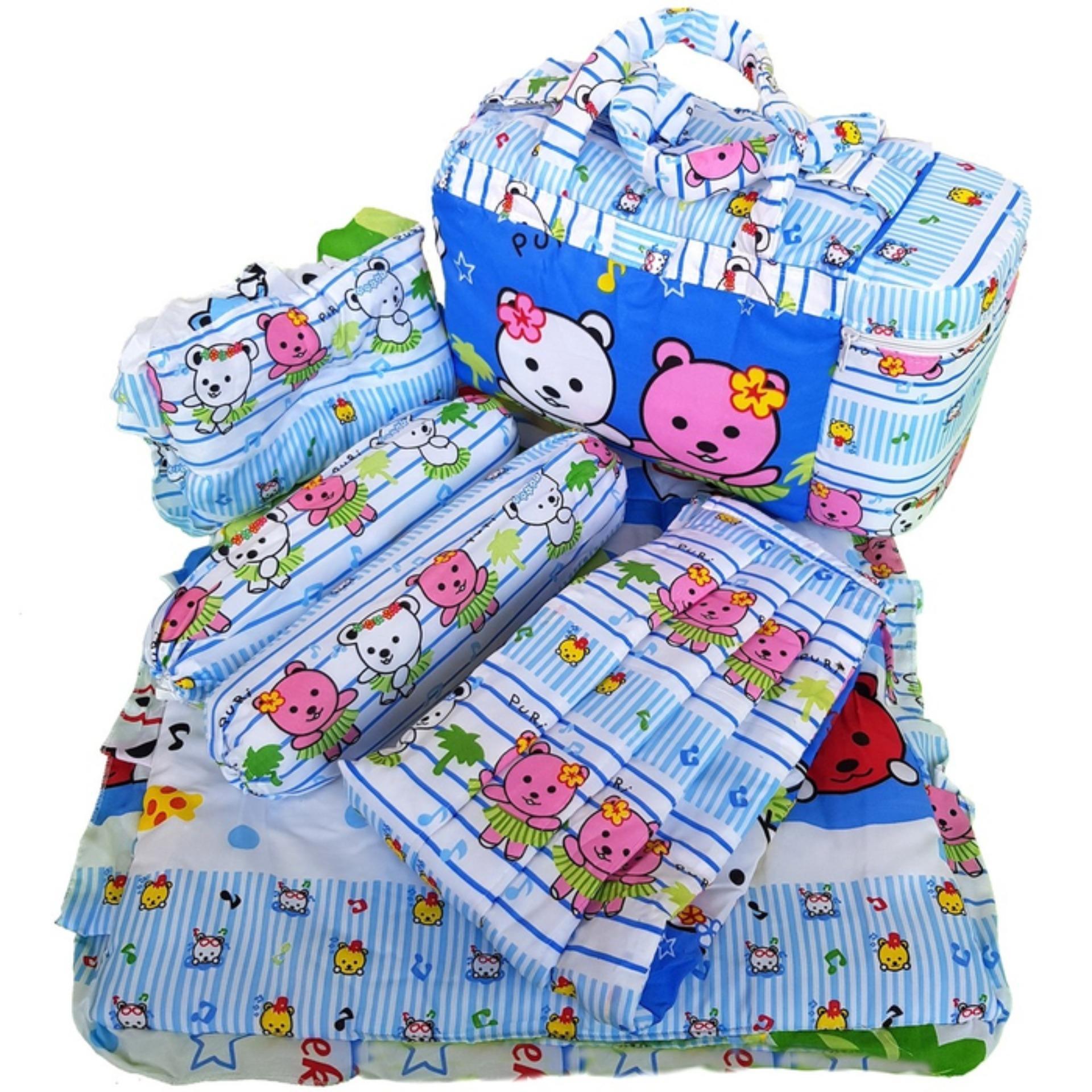 Tas Bantal Guling Gendongan Alas Tidur Perlak Bayi Set 4 in 1 Merek Chekiddo