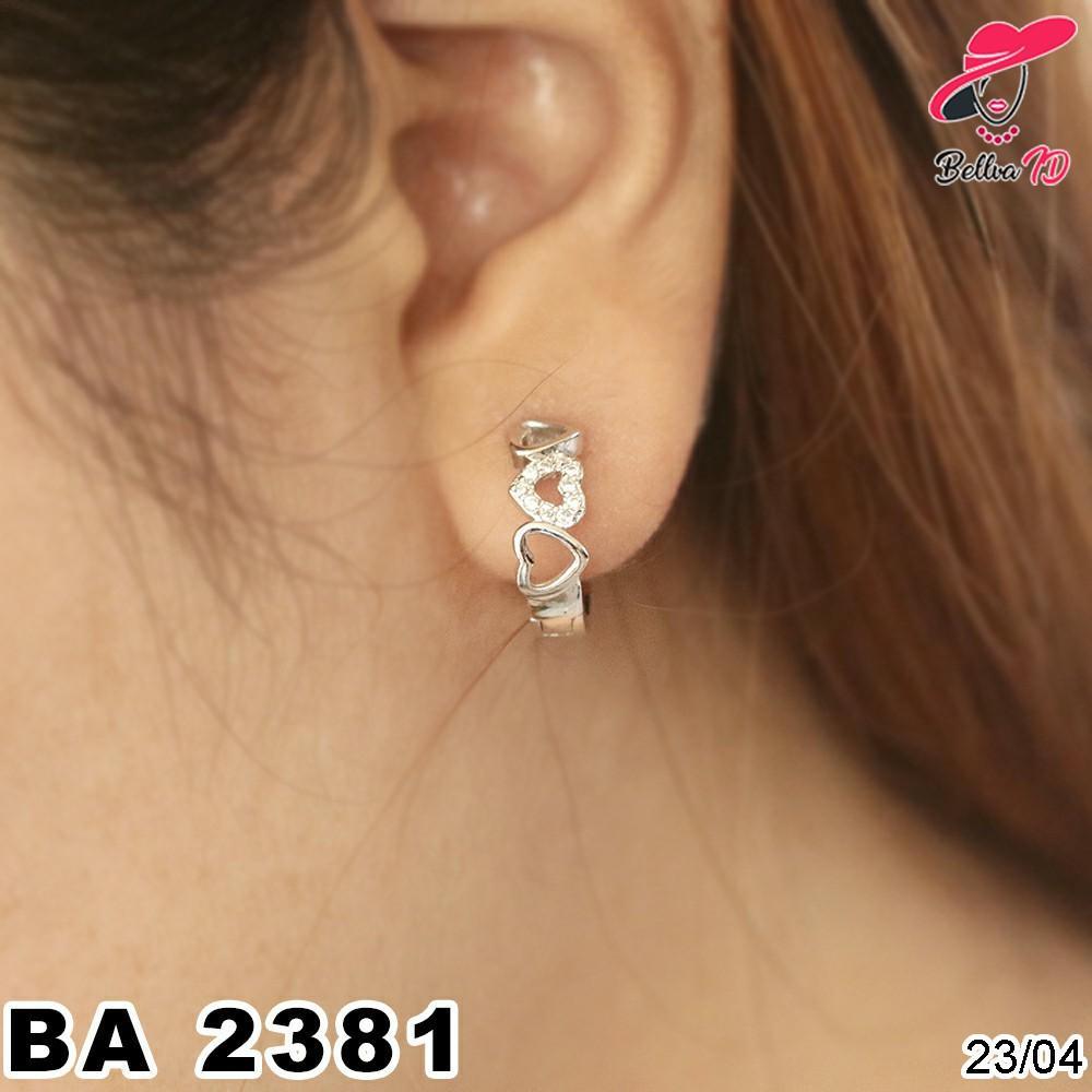 Grosir Perhiasan Anting Titanium Love Berjajar Lapis Permata A 2381