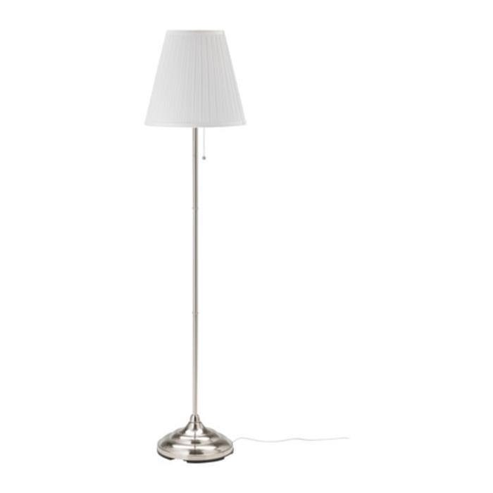 IKEA ARSTID Lampu lantai 155 cm, dilapisi nikel, putih