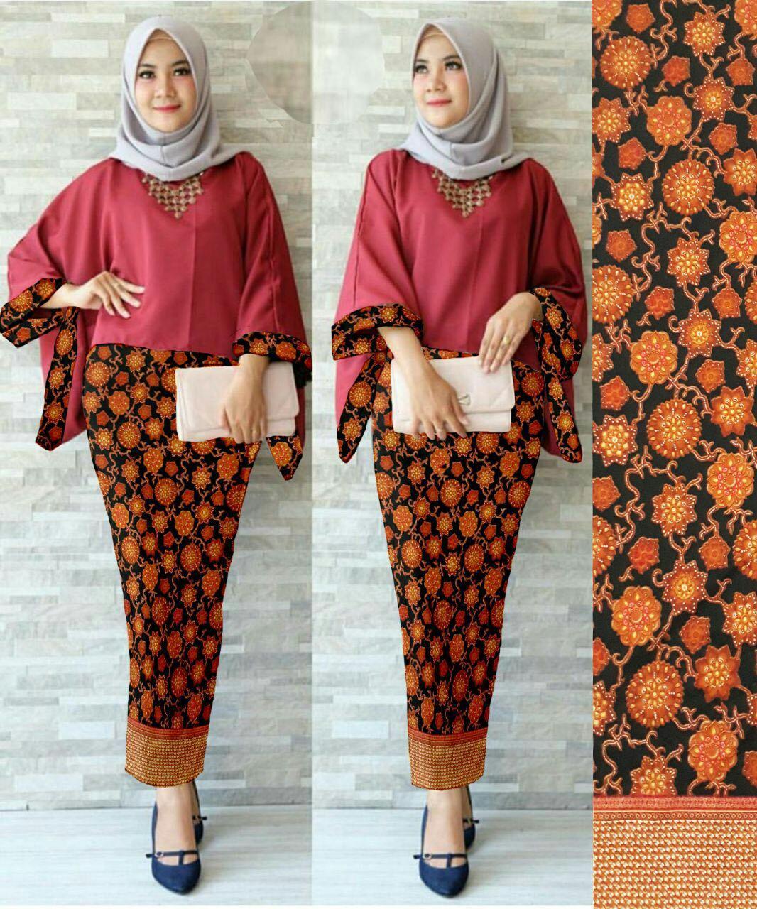 J&C Setelan 2In1 Batwing Sunflow / Atasan Batwing / Setelan Kebaya Batwing / Baju Pesta / Kebaya Muslim / Rok Panjang Batik / Rok Batik / Baju Muslim / Hijab Style