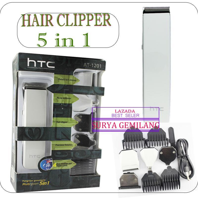 Gambar Produk Rinci HTC-AT 1201 Alat cukur rambut 5 in 1 Detailer  rechargeble Multifungtional clipper Terkini 77fbc220ee