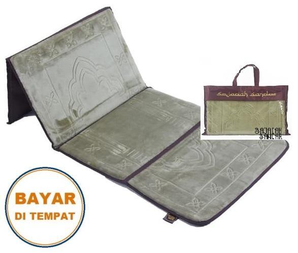 (HIJAU) 1 Sajadah Sandar Surabaya 100% Premium Quality Sajadah Lipat Portable Beludru