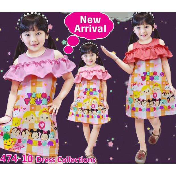 PROMO SALE - DRESS BAJU ANAK PEREMPUAN LITTLE PINEAPPLE LP SABRINA TSUM KOTAK SCUBA  F001
