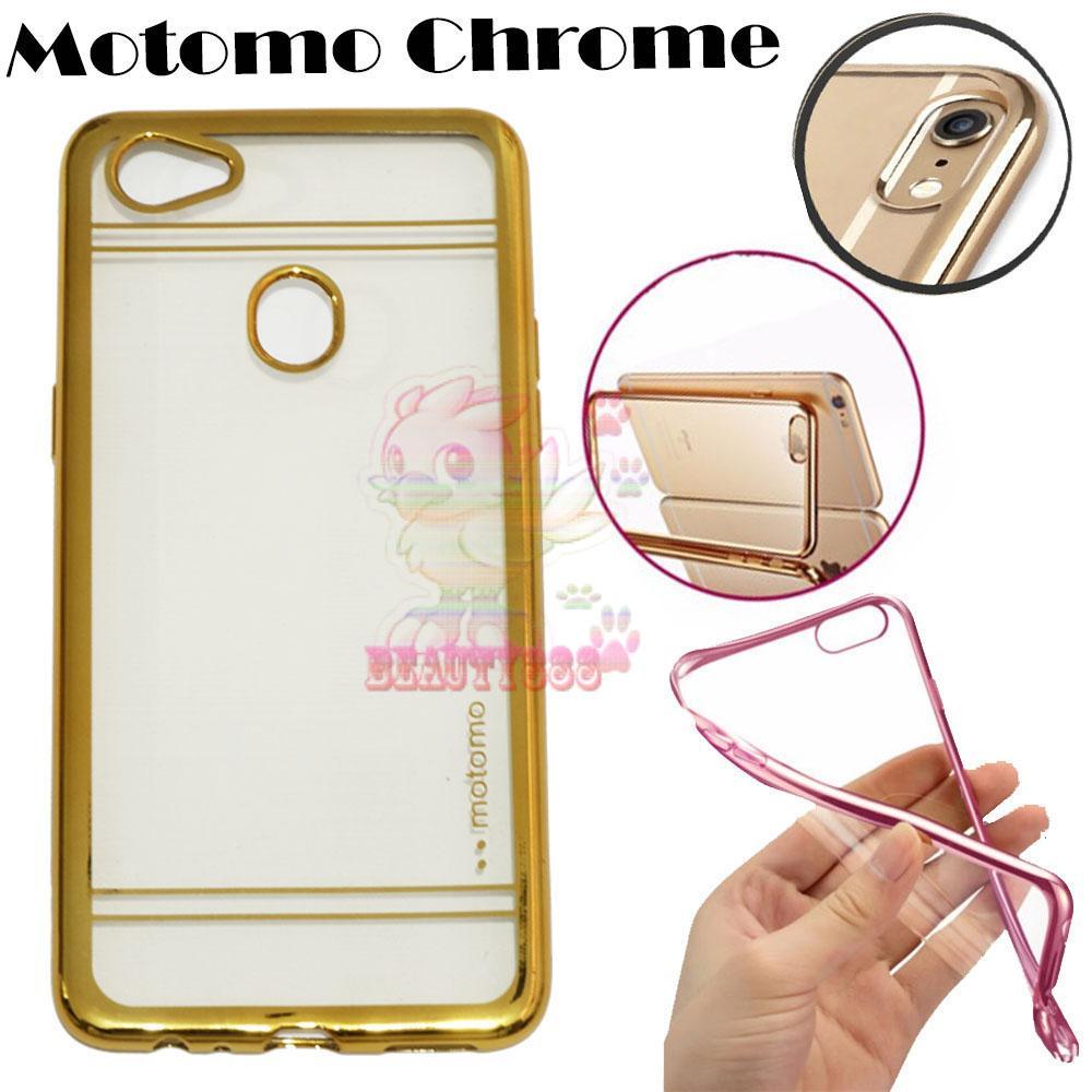 Motomo Chrome Oppo F7 Shining Chrome / Case Shining List Chrome / Ultrahin Oppo F7 List Chrome Jelly Case / Silicone Oppo F7 Shinning / Case Oppo F7 / Casing Hp - Gold