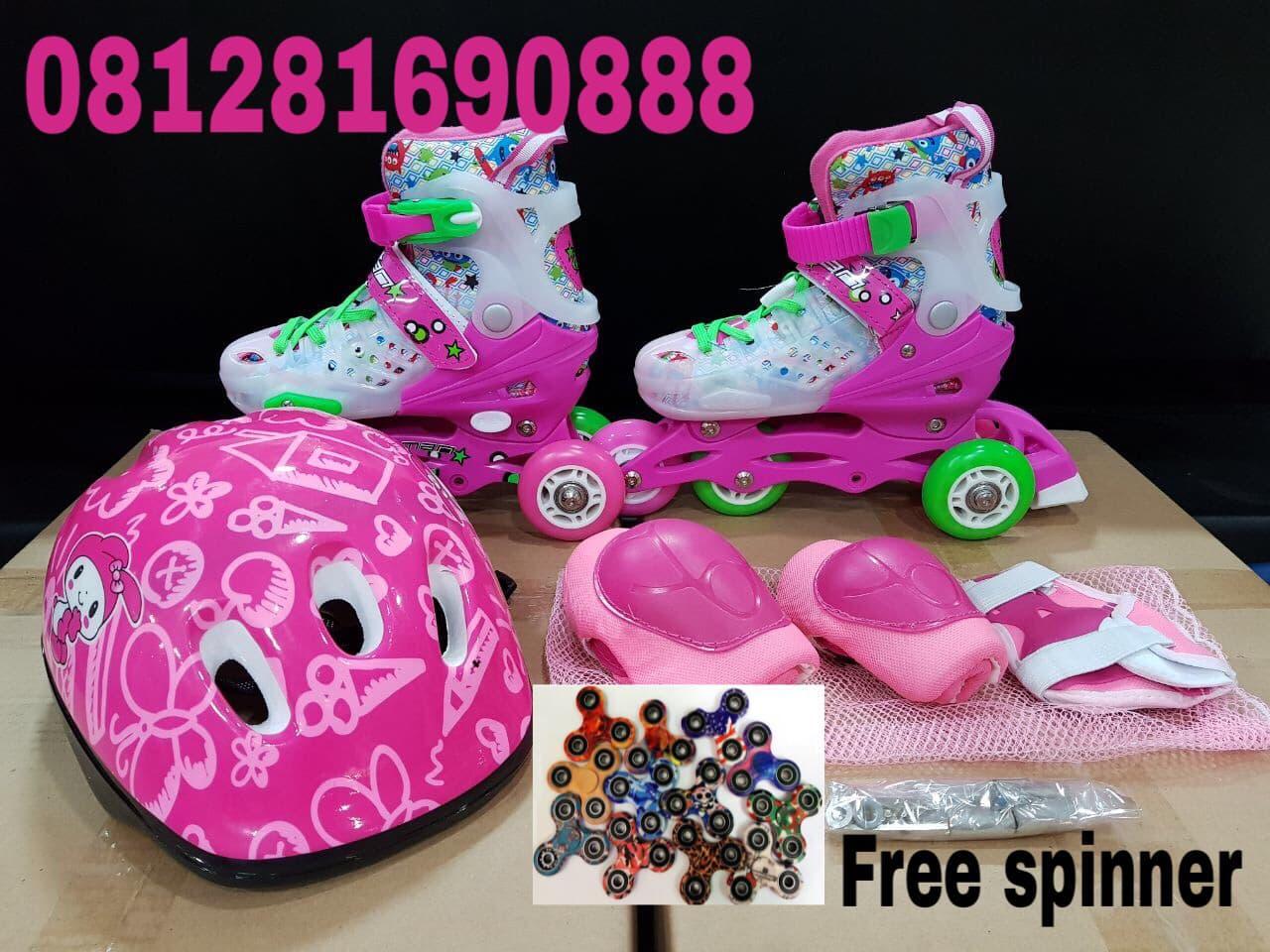 sepatu roda anak fullset ;body protector helm)  inline skate
