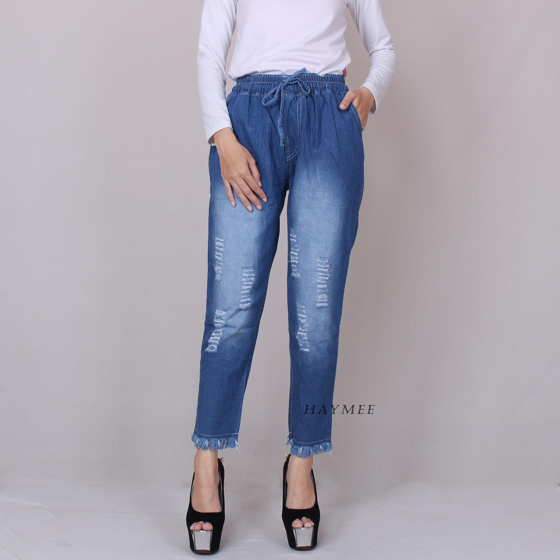 PERRIE Celana Riwis Boyfriend Bawahan Jeans Wanita Celana Denim Wanita Motif Sobek Blue