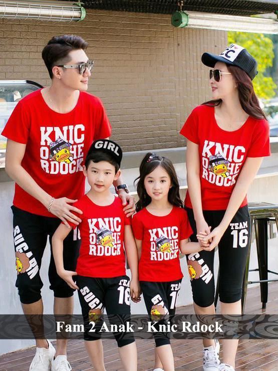 BajuCouple - Baju Keluarga Online - PROMO Keluarga 2 anak - Knic Rdock [Merah]