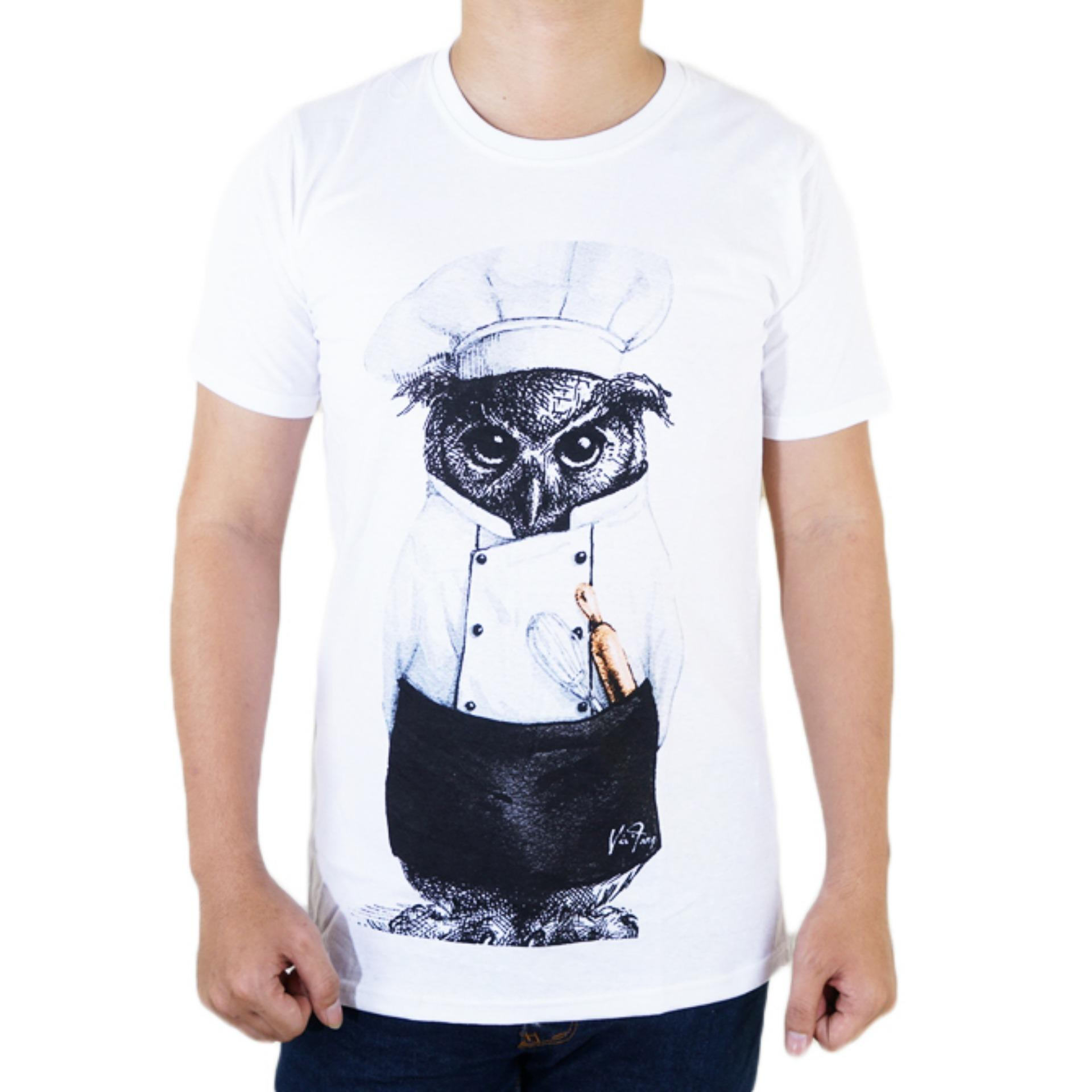 Vanwin - Kaos T-Shirt Distro / kaos Pria / Tshirt Pria / Distro Pria / Baju Pria Premium Owl Chef Koki - Putih