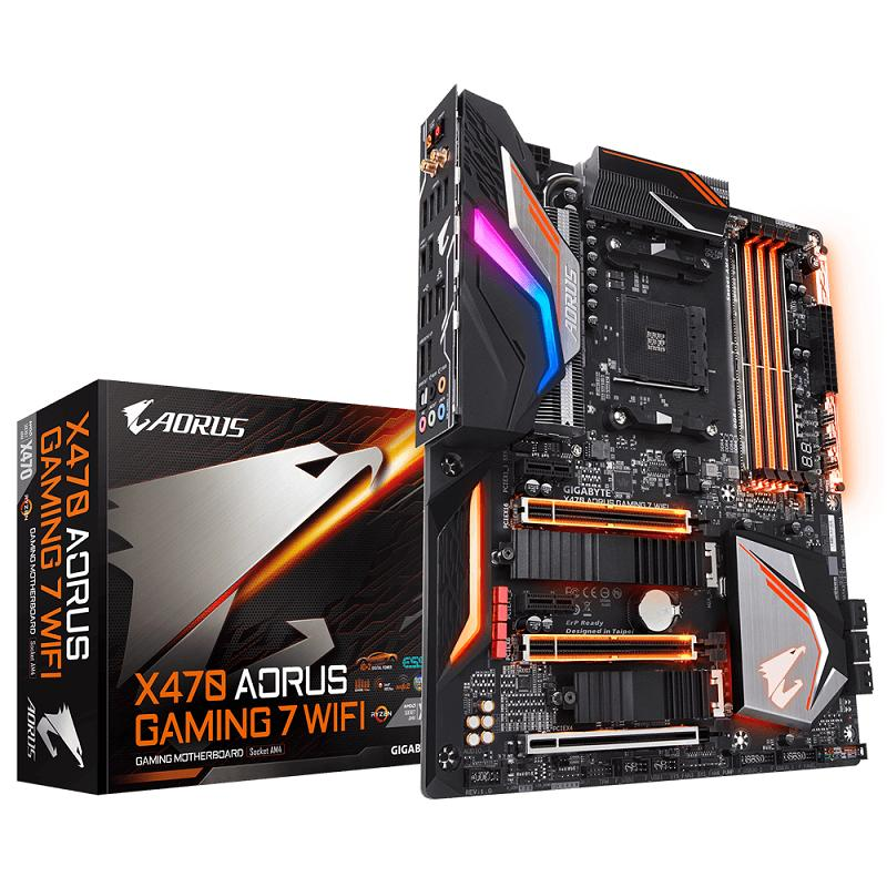 Gigabyte Motherboard X470 AORUS GAMING 7 WIFI - Socket AM4 DDR4 with 10+2 IR Digital PWM, Fins-Array Heatsink & Direct Touch Heatpipe, Dual M.2 with Thermal Guard - Hitam