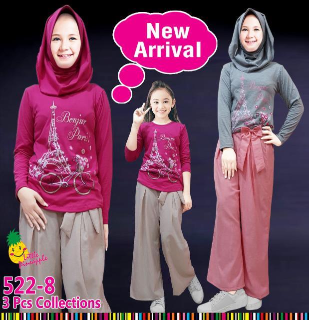 New  (7-12T) Baju Muslim Anak Perempuan Little Pineapple Eiffel Kulot Denim