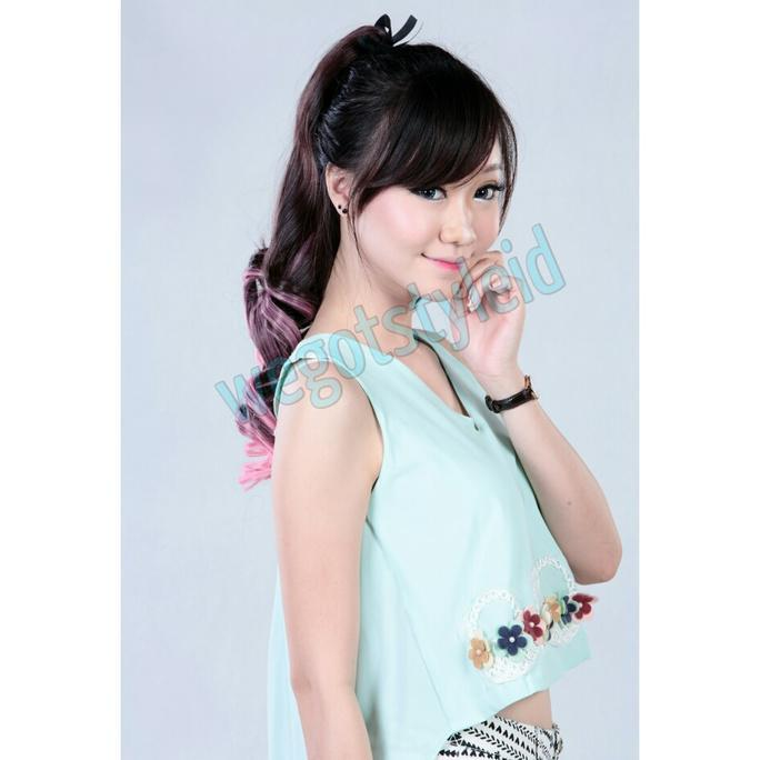 HAIRCLIP PONYTAIL OMBRE CURLY (BANYAK WARNA) / HAIR CLIP KOREA - COSME18