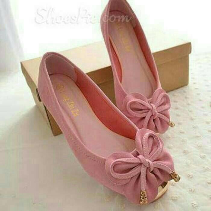 PCH sepatu wanita flatshoes kupu-kupu pink