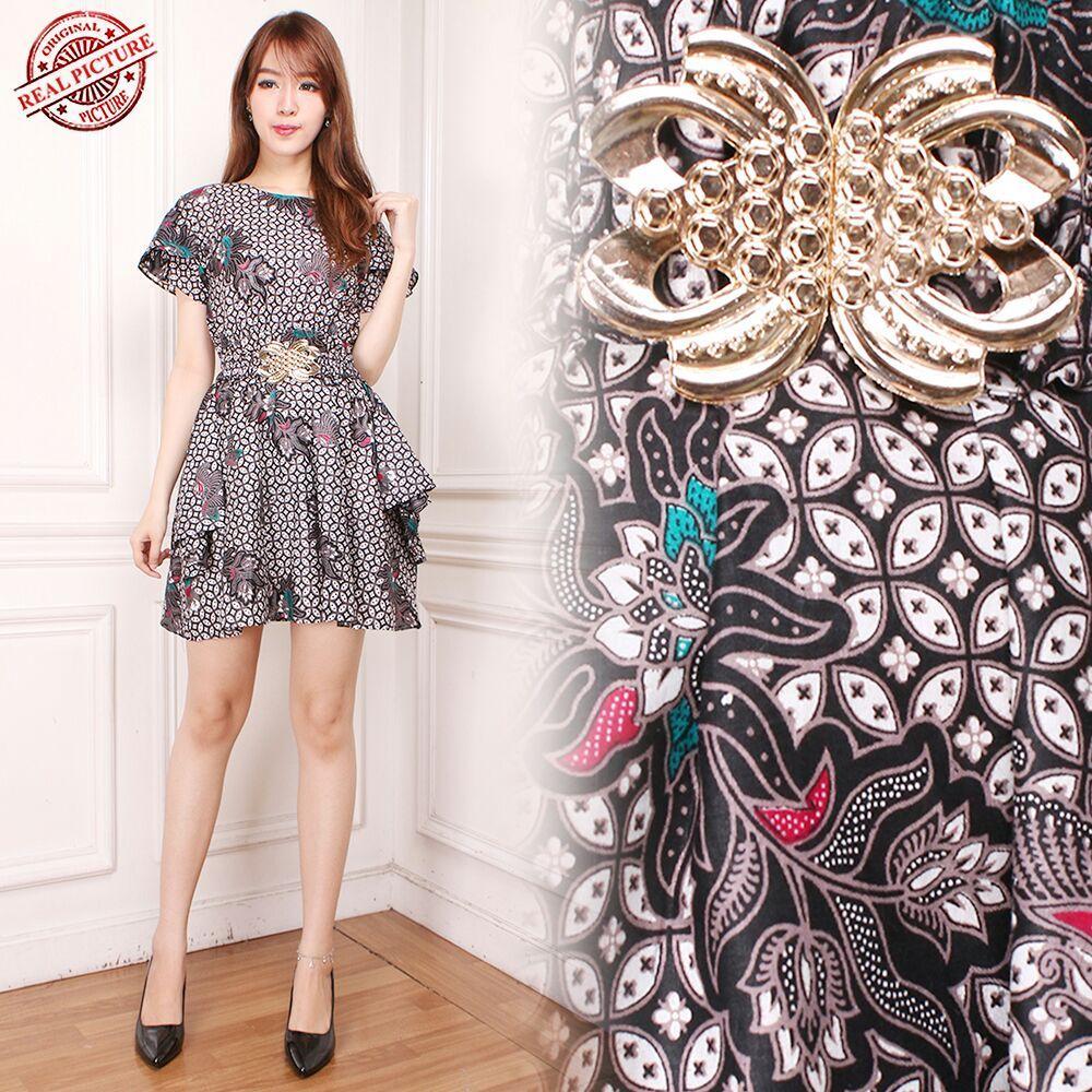 Glow fashion Dress batik maxi pendek wanita mini dress Prissya