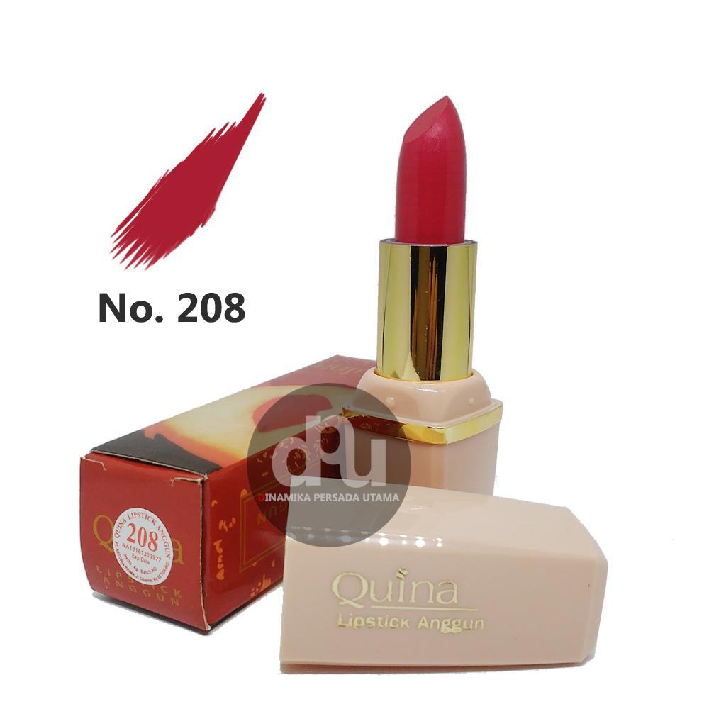 Lipstik Anggun QUINA Lipstick Glossy 208  / Makeup Bibir / Lipstik Glossy / Kosmetik / Kecantikan / Perawatan Make up