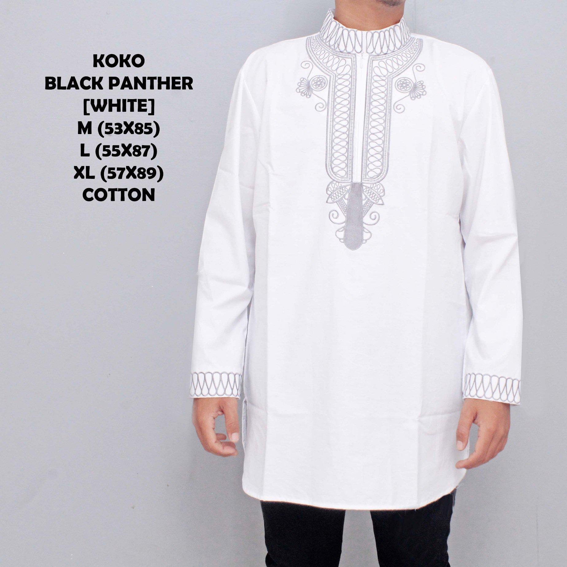 Koko Baju Muslim Qurta Pria Black Panther Putih
