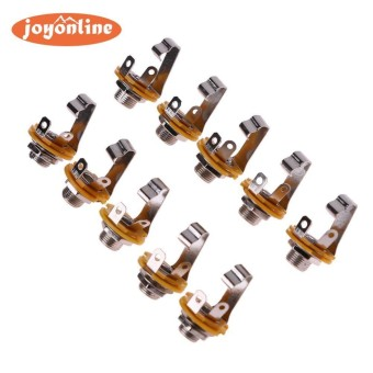 10pcs 1/4in Guitar Jack Socket Connector Female With Electric Guitar Bass - intl