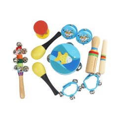 10pcs/set Musical Toys Percussion Instruments Band Rhythm Kit Including Tambourine Maracas Castanets Handbells Wooden Guiro for Kids Children Toddlers - intl
