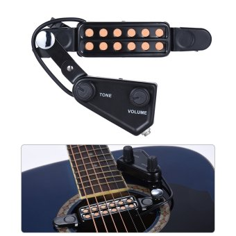 12-hole Acoustic Guitar Sound Hole Pickup Magnetic Transducer with Tone Volume Controller Audio Cable - intl