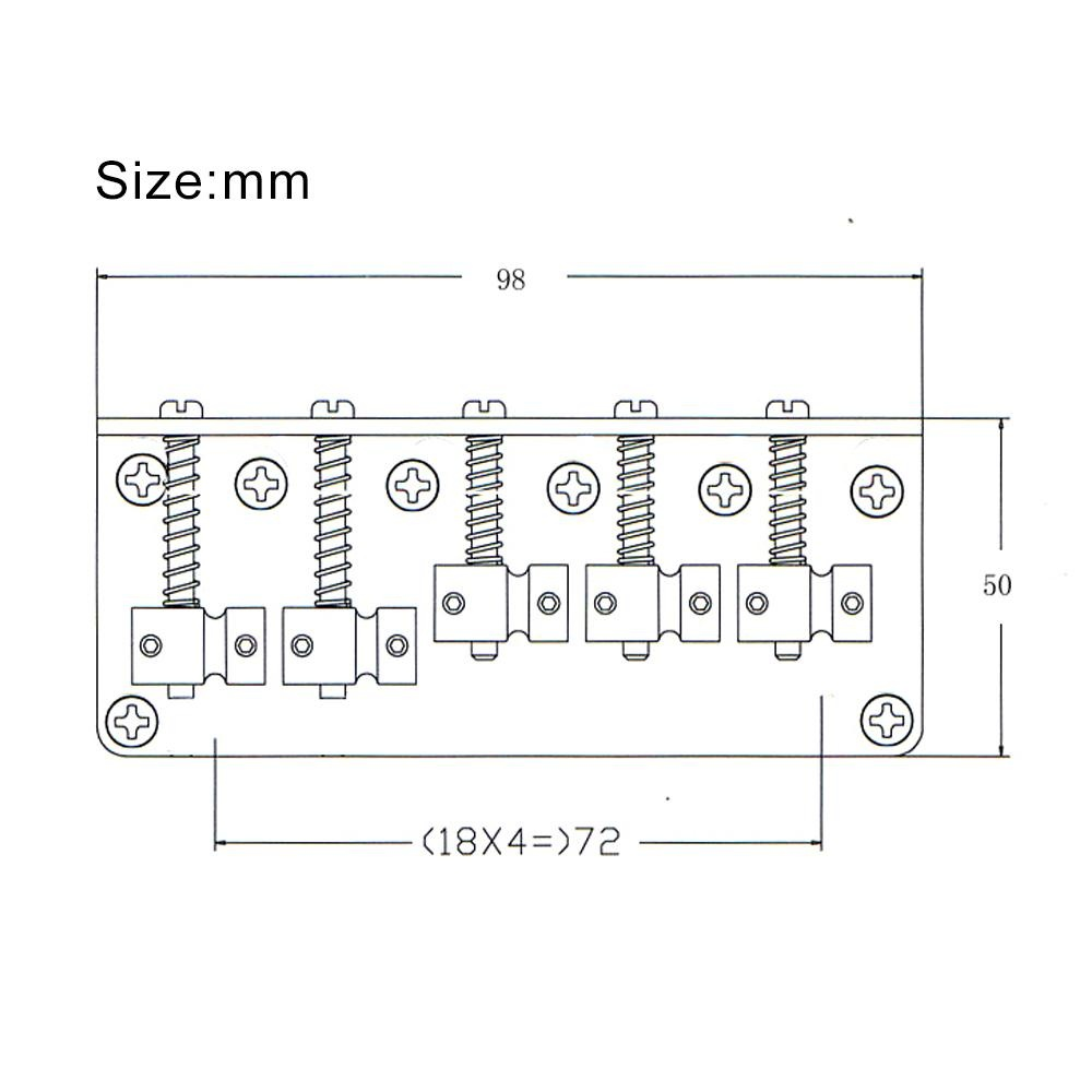 5-saddle Bridge Set for 5 String Electric Bass Guitar Part Replacement .