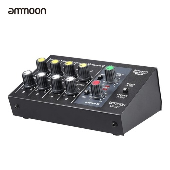 ammoon AM-228 Ultra-compact Low Noise 8 Channels Metal Mono Stereo Audio Sound Mixer with Power Adapter Cable - intl