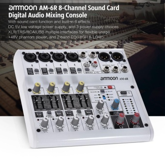 ammoon AM-6R 8-Channel Sound Card Digital Audio Mixer Mixing Console Built-in 48V Phantom Power Support with Power Adapter USB Cables for Recording DJ Network Live Broadcast - intl