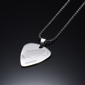 ammoon Guitar Pick Necklace Stainless Steel with 50cm/20in Ball Chain Silver Color - intl