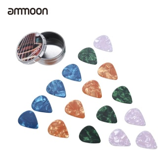 ammoon Guitar Picks 16pcs Celluloid picks 4 Colors 4 Thickness with Metal Storage Box for Acoustic Folk Guitars - intl