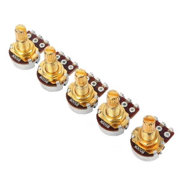 BolehDeals 5 Pieces A500k Ohm Audio Mini Pots Golden PotentiometerFor Electric Guitar -