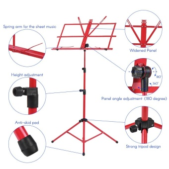 Foldable Sheet Music Tripod Stand Holder Lightweight with Water-resistant Carry Bag for Violin Piano