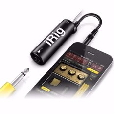 iRig AmpliTube Guitar Interface Converter Adapter for iPhone iPod Touch iPad iOS Alat Penghubung Ios dengan Jack Gitar Bass Amplifier Plug In and Paly Aksesoris Instrumen Musik Music Instrument No Battery Simpel Mudah Support Recording  - Hitam