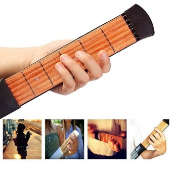 Pocket Guitar 6 Strings Portable Guitar Practice Gadgets 6 Fret Pocket Strings for Beginners Pocket -