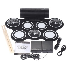 Portable Foldable Silicone Electronic Drum Pad Kit Digital USB Roll-up with Drumstick Foot Pedal 3.5mm Audio Cable - intl