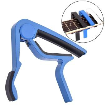 Online murah Portable Quick Change Tune Clamp Handheld Tuner Capo for Folk Guitar (Blue) - intl Hot Deals