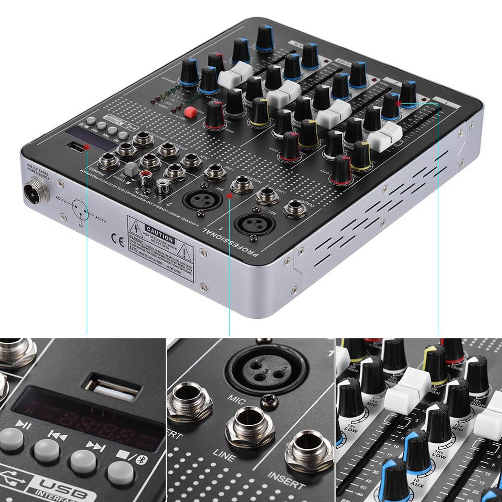 Diskon Penjualan Professional Bluetooth 4 Channel Mic Line Audio 3 Mixer Mixing Console With Band Eq