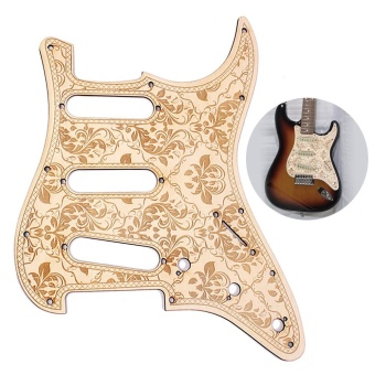 SSS Wooden Guitar Pickguard Maple Wood with Decorative Flower Pattern for Fender ST Electric Guitars ^ - intl