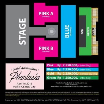 4TH GENERATION GIRLS' GENERATION 4th TOUR - Phantasia - In JakartaStage Layout & Ticket Price - Green