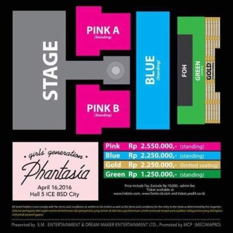 4TH Girl's Generation 4th Tour - Phantasia - In Jakarta StageLayout & Ticket Price - Hijau
