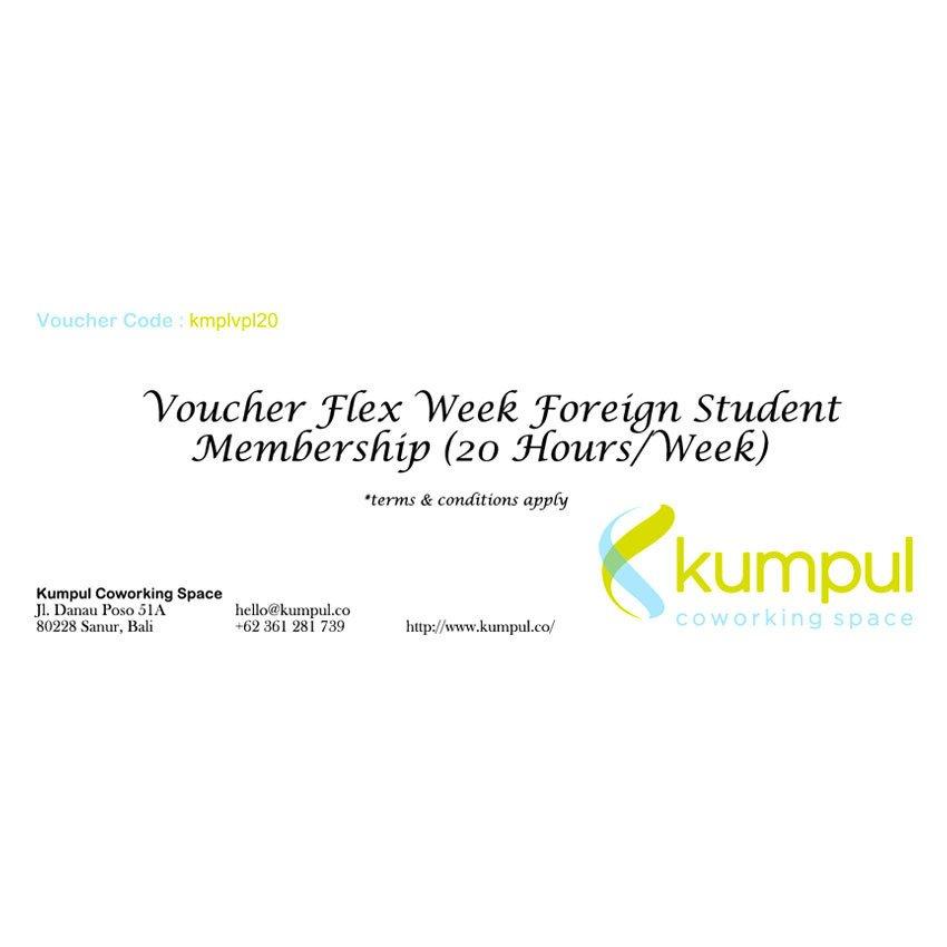 Kumpul Voucher Flex Week Foreign Student Membership - 20 Jam/Minggu – Kumpul Coworking Space