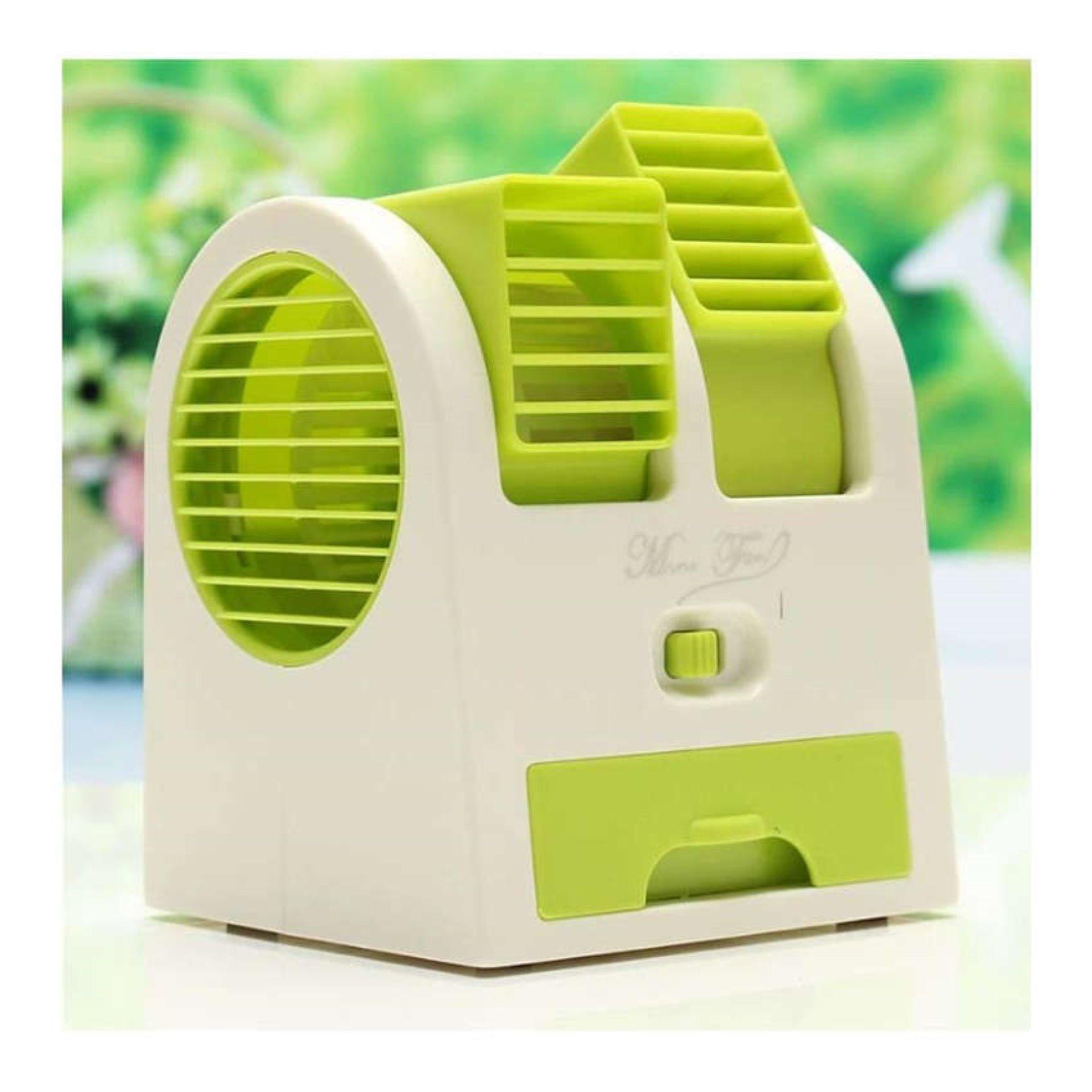 Penawaran Bagus Ac Duduk Mini Portable Double Blower Kipas Angin Twin Fan Parfum Hijau