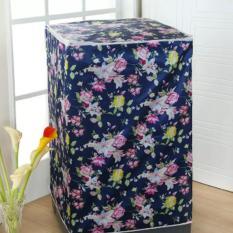 Cover Mesin Cuci Navy Flower Bahan Satin Tebal, Anti Air, Anti Panas