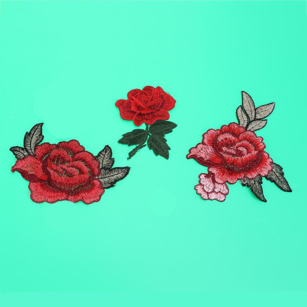 Flower Patches Stickers Embroidery 3D Applique Motif Applique Garment Cloth(Red)