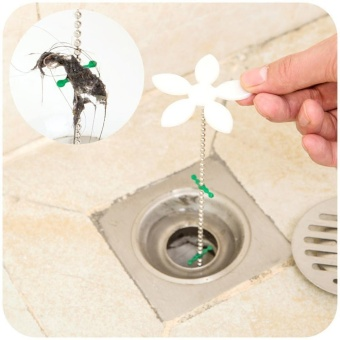 BELI foonovom Shower Drain Hair Catcher Drain Hair RemoverChain,44cm17inch,White – intl MURAH
